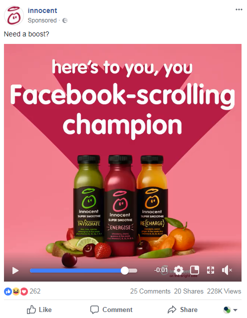Example of a Facebook video ad